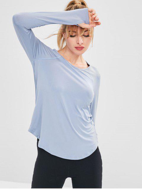 T-shirt Evidé à Manches Raglan Manchette avec Trou - Bleu-gris L Mobile