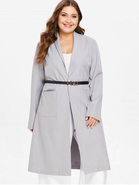 latest ZAFUL Plus Size Shawl Collar Wrap Coat - LIGHT GRAY 2X Mobile