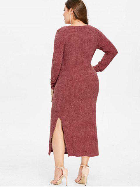 fancy ZAFUL Plus Size Knit Slit Pocket Dress - CHERRY RED 1X Mobile