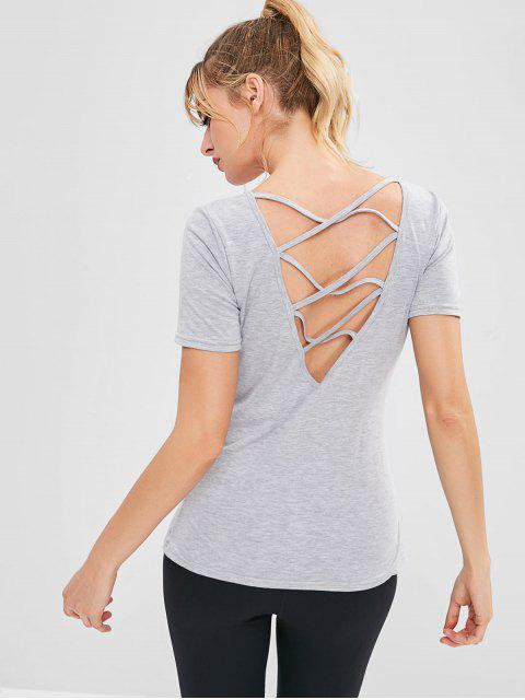 Sport Criss Cross Lässiges T-Shirt - Hellgrau M Mobile