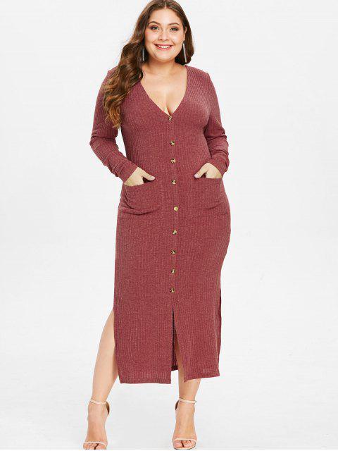 outfit ZAFUL Plus Size Knit Slit Pocket Dress - CHERRY RED L Mobile