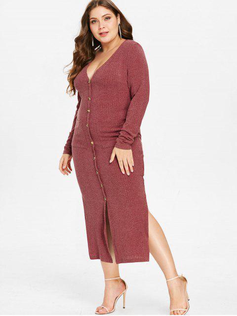sale ZAFUL Plus Size Knit Slit Pocket Dress - CHERRY RED 4X Mobile