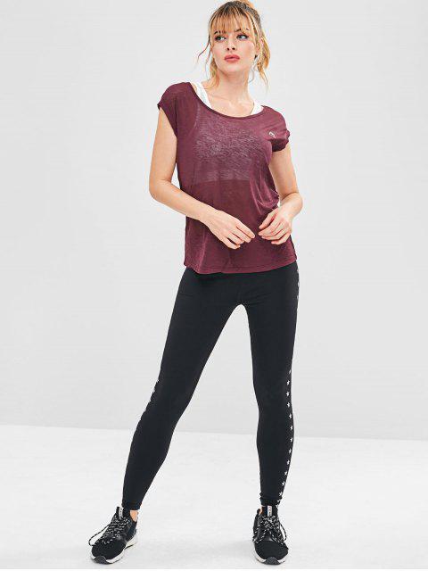 Cap Sleeve Sport T-Shirt - Kastanienbraun XL Mobile