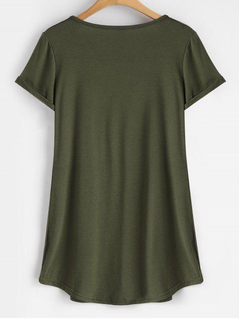 fashion Rolled Sleeve V Neck Tee - ARMY GREEN XL Mobile