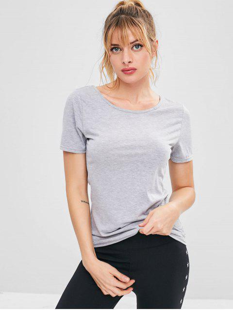 T-shirt Décontracté de Sport Croisé - Gris Clair L Mobile