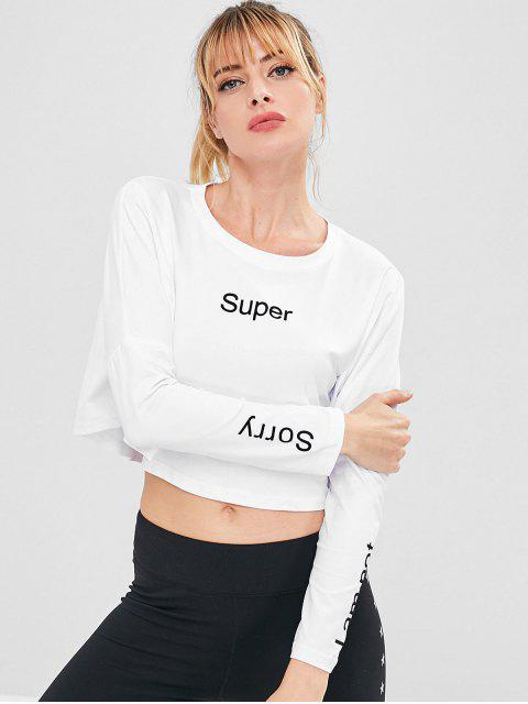 T-shirt Crop Lettre Imprimé Épaules - Blanc L Mobile