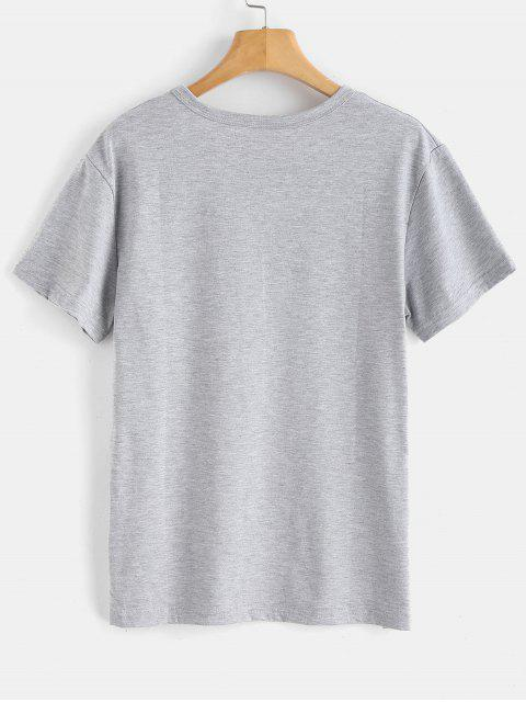 fancy Text Print Graphic Jersey T-Shirt - LIGHT GRAY S Mobile