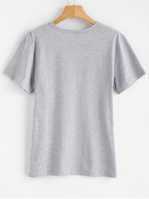 new Wink Eye Print Graphic Short Sleeve T-Shirt - GRAY CLOUD S Mobile