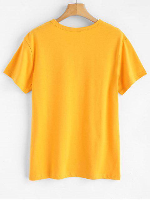 women's Text Print Graphic Jersey T-Shirt - BRIGHT YELLOW XL Mobile