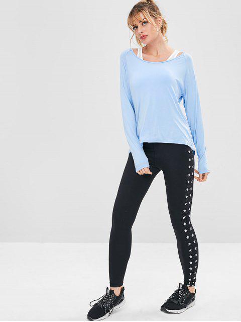 T-shirt de Sport Drapé Athlétique Sans Dos - Bleu Ciel Léger  M Mobile