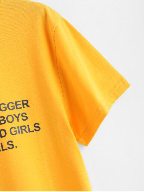 lady Text Print Graphic Jersey T-Shirt - BRIGHT YELLOW 2XL Mobile