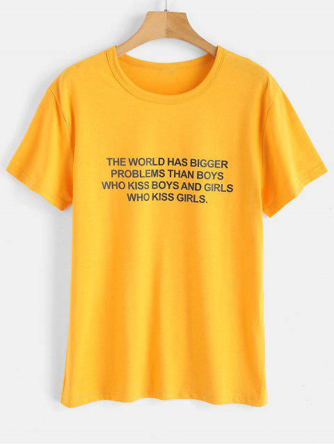 ladies Text Print Graphic Jersey T-Shirt - BRIGHT YELLOW M Mobile