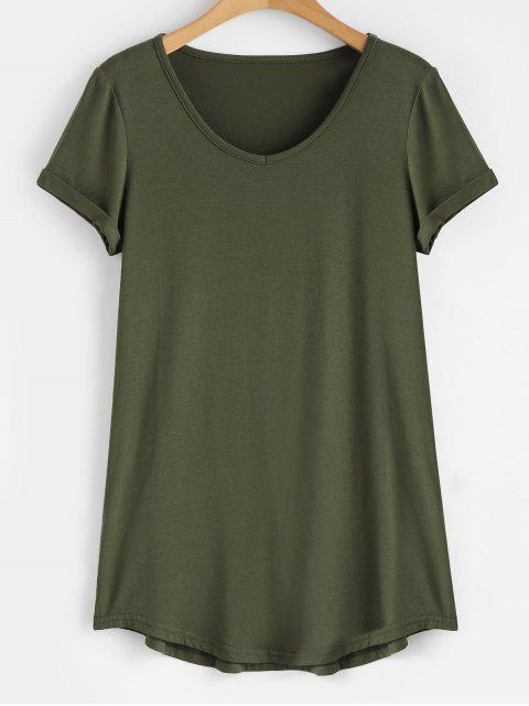 shop Rolled Sleeve V Neck Tee - ARMY GREEN 2XL Mobile