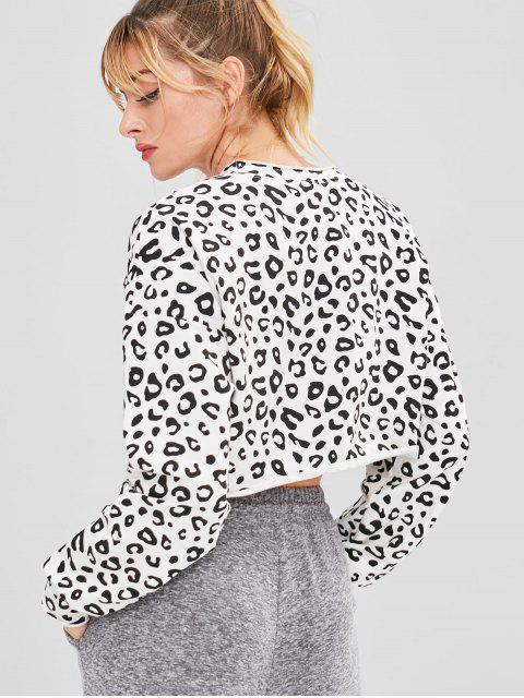 Drop Schulter Leopard Sport Sweatshirt - Leopard S Mobile