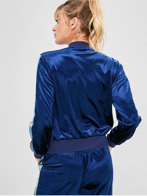 Reißverschluss Velvet Athletic Sportjacke - Dunkel Blau L Mobile