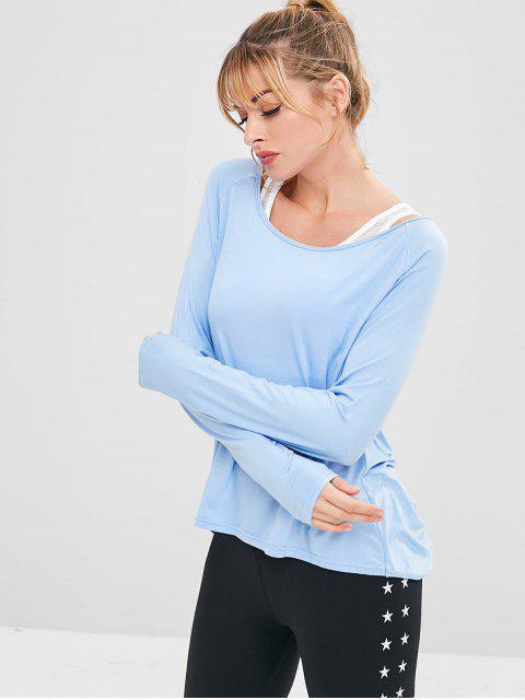T-shirt de Sport Drapé Athlétique Sans Dos - Bleu Ciel Léger  S Mobile