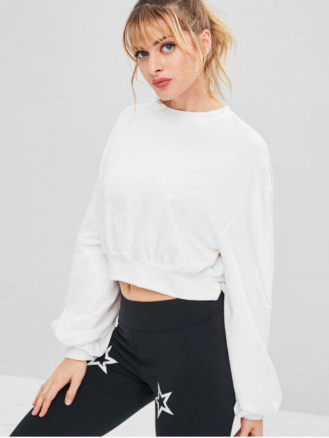 Drop Schulter Crop Athletic Sweatshirt - Weiß S Mobile