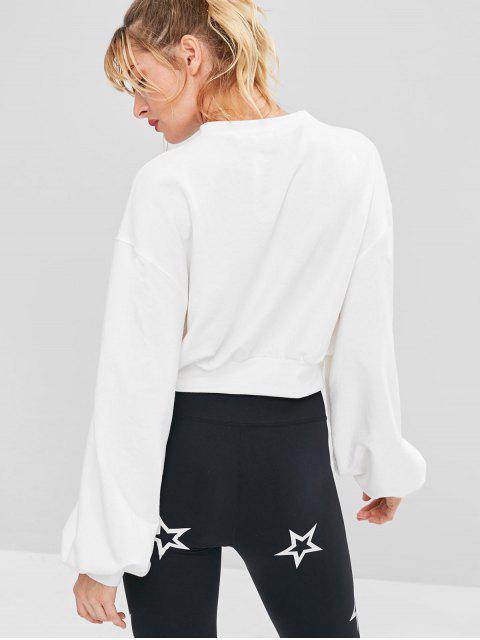 Drop Schulter Crop Athletic Sweatshirt - Weiß M Mobile
