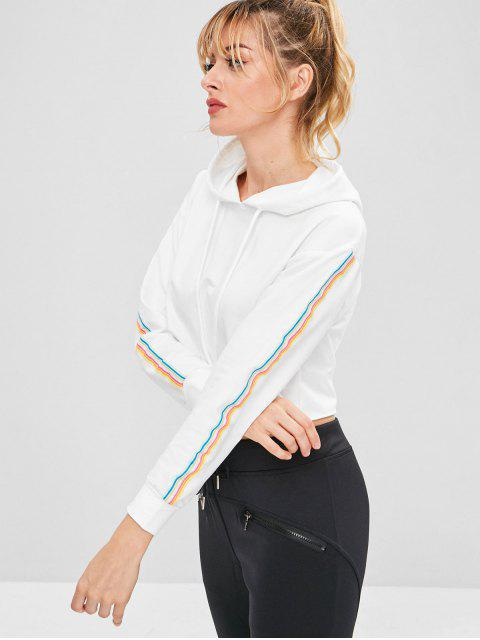 women's ZAFUL Colorful Striped Drop Shoulder Hoodie - WHITE M Mobile