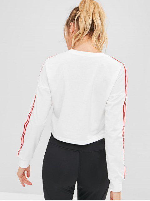 new ZAFUL Striped Drop Shoulder Crop Sweatshirt - WHITE L Mobile