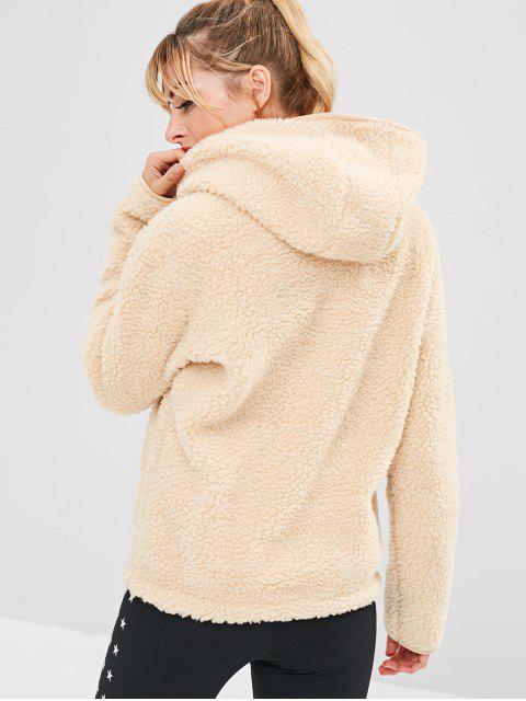 shop ZAFUL Faux Fur Zipper Kangaroo Pocket Hoodie - BLANCHED ALMOND M Mobile