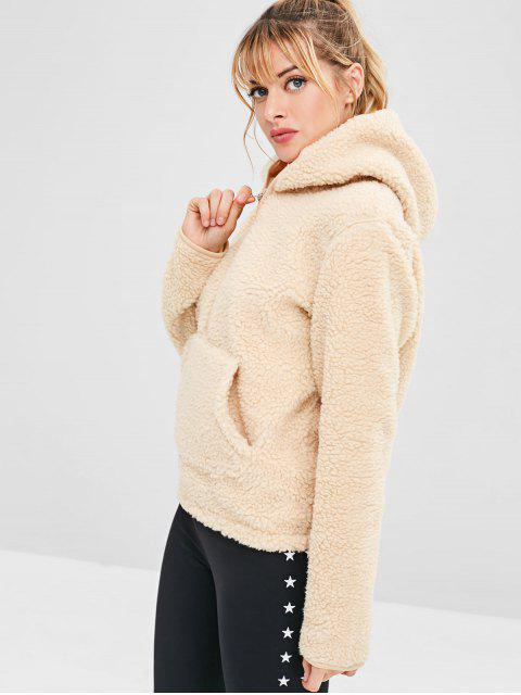 ZAFUL Faux Fur Zipper Kangaroo Pocket Hoodie - Blanco Almendra M Mobile