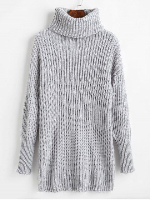 unique Relaxed Drop Shoulder Turtleneck Sweater - LIGHT GRAY ONE SIZE Mobile