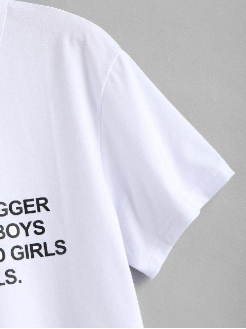 lady Text Print Graphic Jersey T-Shirt - WHITE S Mobile
