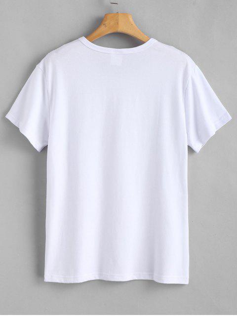 fashion Text Print Graphic Jersey T-Shirt - WHITE M Mobile