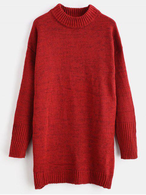 Robe Pull Droite à Col Montant - Rouge Vineux Taille Unique Mobile