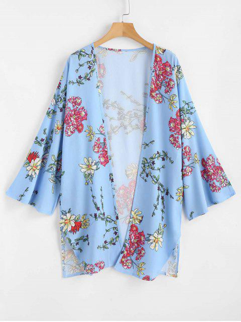 latest Floral Print Open Front Kimono Top - SEA BLUE L Mobile
