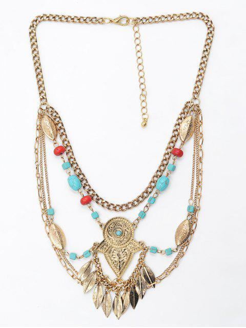 women Leaf Tassel Faux Turquoise Engraved Necklace - GOLD  Mobile