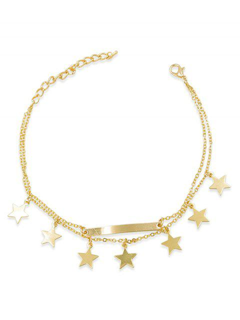 best Layered Bar Design Star Chain Anklet - GOLD  Mobile