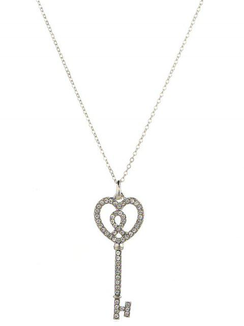 shop Artificial Crystal Inlaid Key Sweater Chain - SILVER  Mobile