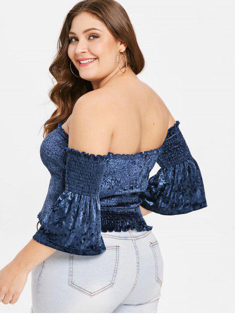 buy ZAFUL Plus Size Velvet Off Shoulder Smocked Top - MIDNIGHT BLUE 1X Mobile