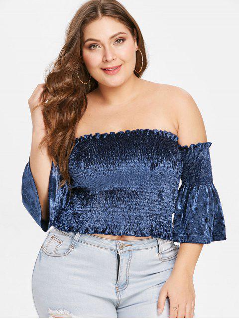 latest ZAFUL Plus Size Velvet Off Shoulder Smocked Top - MIDNIGHT BLUE 3X Mobile