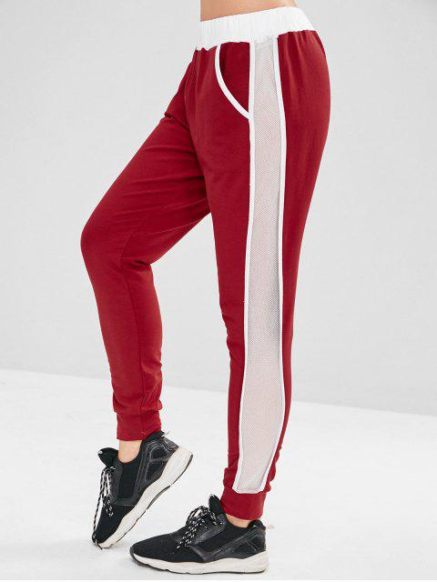 fancy ZAFUL Fishnet Insert Color Block Jogger Pants - RED WINE L Mobile
