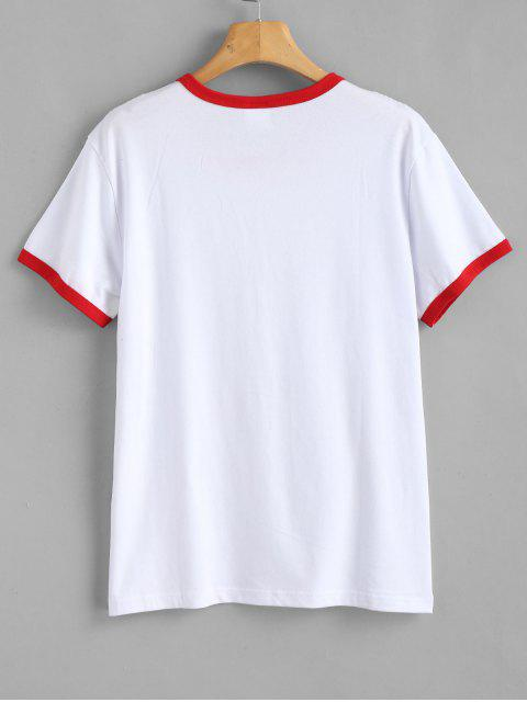 Grafik Kurzarm Jersey T-Shirt - Rot XL Mobile