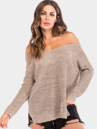 Off The Shoulder Chunky Knit Sweater - Tan M