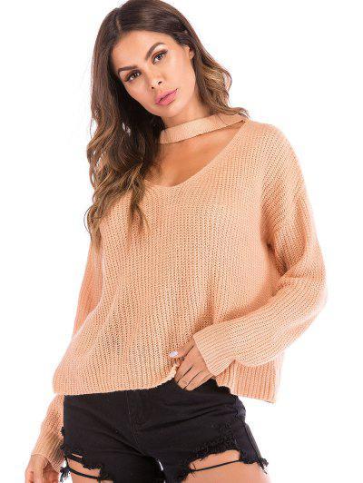 Plain Chunky Knit Keyhole Sweater, Orange pink