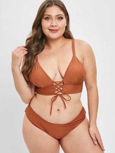 c063d3d511 ... ZAFUL Plus Size Lace-up Caged Bikini Set - Brown 2x