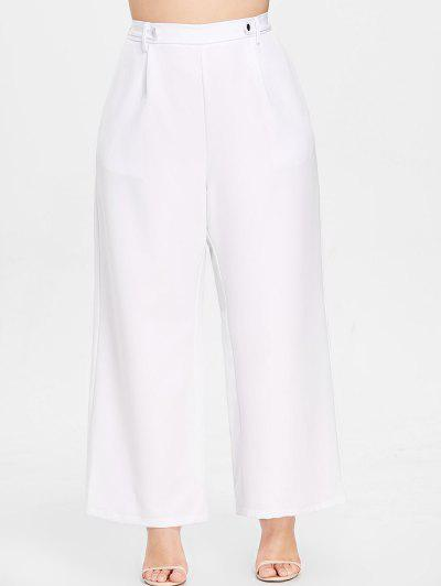 ZAFUL Wide Leg Plus Size Casual Pants, White