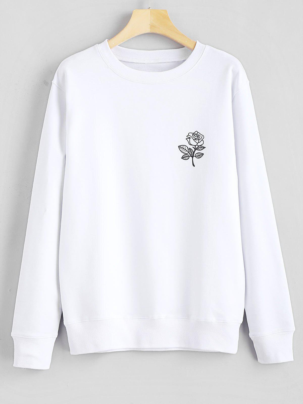 Floral Print Graphic Pullover Sweatshirt фото