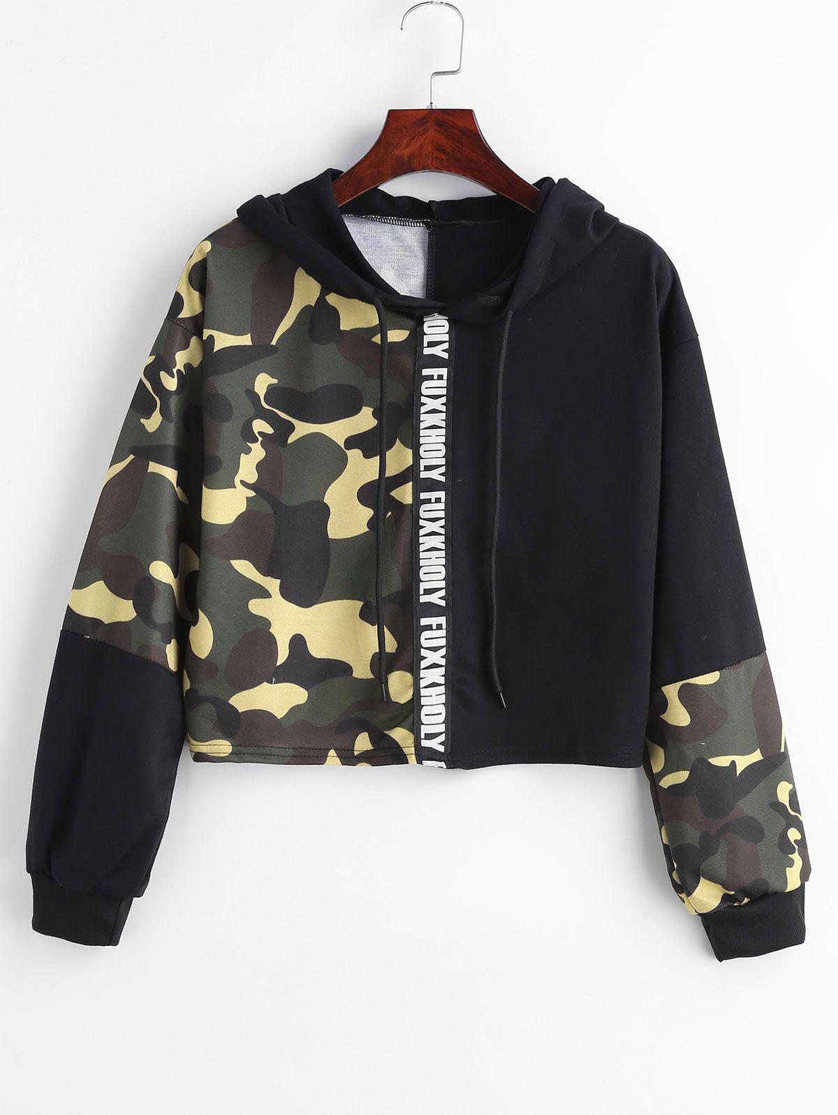 Camo Print Patchwork Cropped Hoodie, Multi