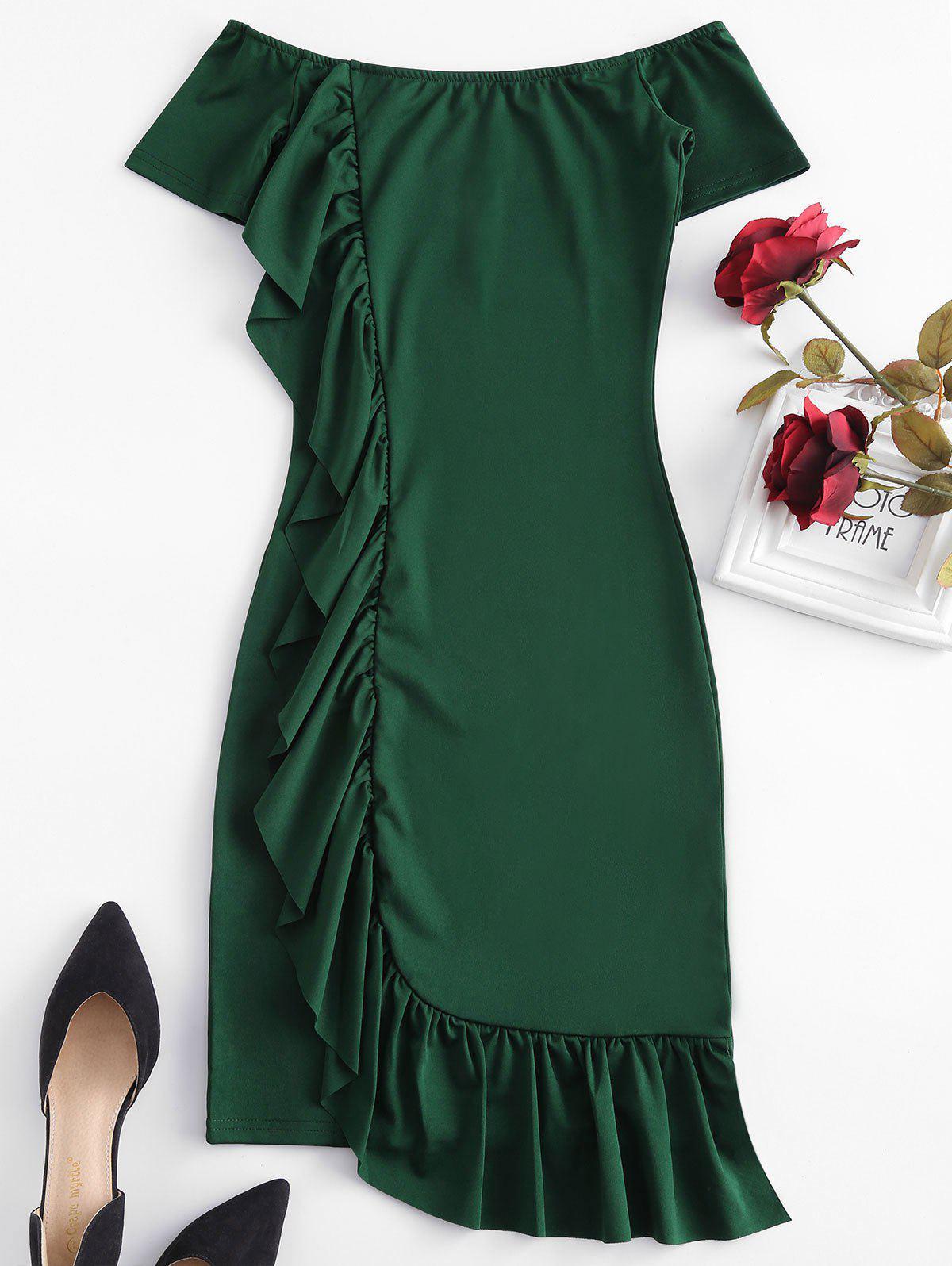Off Shoulder Ruffles Bodycon Dress, Medium sea green