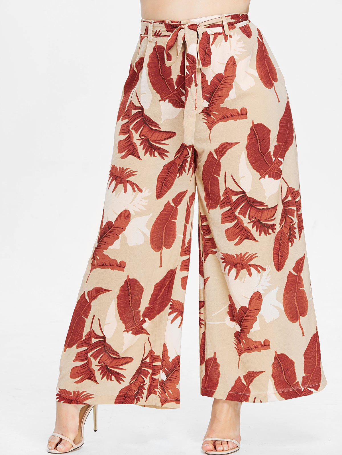 ZAFUL Plus Size Print Wide Leg Palazzo Pants, Multi