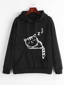 آذان القط الحقيبة جيب هوديي الصوف - أسود S