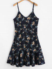 فستان بحواف كشكش - منتصف الليل الأزرق
