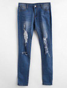 جينز بنمط باهت ومحبب - أزرق Xl
