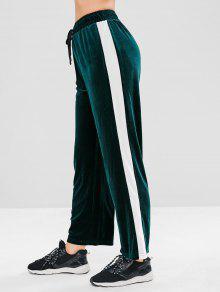 ZAFUL Velvet Colour Block Straight Pants - أخضر غامق S
